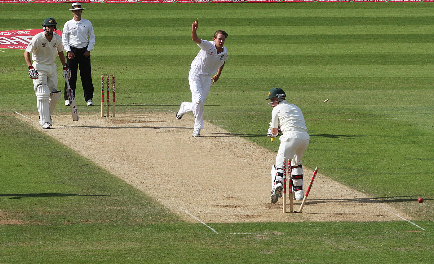 Aussie basher: Broad takes a wicket in his spell at The Oval in 2009 that helped England seal the Ashes