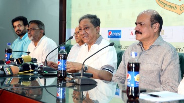 BCB president Nazmul Hassan addresses the media at a press conference