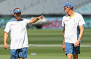 Charl Langeveldt has a word with Morne Morkel during a training session, Melbourne, February 21, 2015