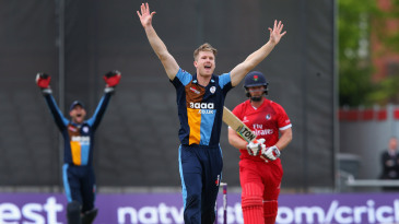 Jimmy Neesham appeals for the wicket of Steven Croft