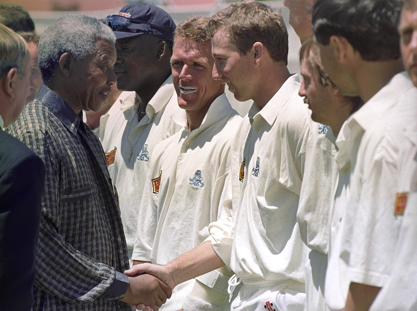 Nelson Mandela meets the England players in Soweto in 1995; a