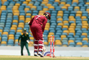 Marlon Samuels was out for a first-ball duck, falling to a scorching yorker from Kagiso Rabada, West Indies v South Africa, ODI tri-series, Bridgetown, June 24, 2016
