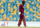 Denesh Ramdin walks back dejected after being dismissed for 4, West Indies v South Africa, ODI tri-series, Bridgetown, June 24, 2016