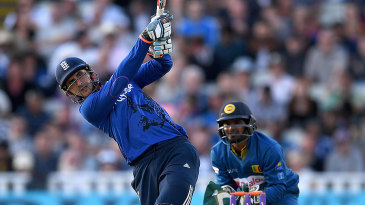 Alex Hales launches a big six during his third ODI hundred