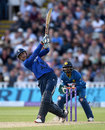Alex Hales launches a big six during his third ODI hundred, England v Sri Lanka, 2nd ODI, Edgbaston, June 24, 2016