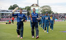 Alex Hales and Jason Roy walk off the field after their record-breaking 256-run stand, England v Sri Lanka, 2nd ODI, Edgbaston, June 24, 2016