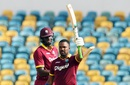 Darren Bravo celebrates his third ODI century, West Indies v South Africa, ODI tri-series, Bridgetown, June 24, 2016
