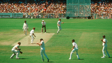 Ian Chappell takes a catch to dismiss Lawrence Rowe off Jeff Thomson