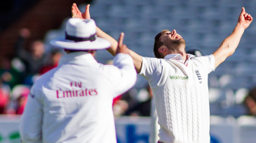 Mark Wood celebrates as umpire S Ravi raises his finger to declare Brendon McCullum out