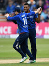 Chris Jordan celebrates a wicket on his return to the side, England v Sri Lanka, 3rd ODI, Bristol, June 26, 2016