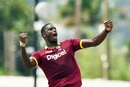 Jason Holder roars after removing Usman Khawaja early, West Indies v Australia, ODI tri-series final, Barbados, June 26, 2016