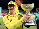 Steven Smith is a happy captain as he poses with the series trophy, West Indies v Australia, ODI tri-series final, Barbados, June 26, 2016