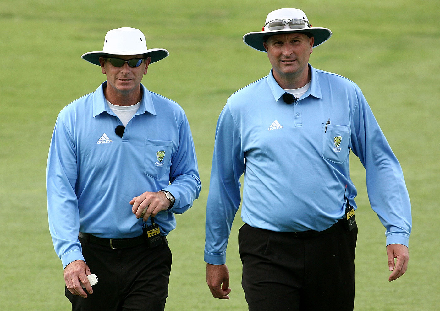 Paul Wilson (right) and Paul Reiffel are among a rare breed of former Australian first-class players who have umpired at international level
