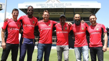 Simon Helmot, Kevon Cooper, Jacques Kallis, Dwayne Bravo, Hashim Amla and Brendon McCullum at the launch of the Trinbago Knight Riders kit