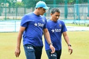 Think-tank: Head coach Anil Kumble has a chat with batting coach Sanjay Bangar, Bangalore, June 29, 2016