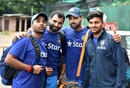 Amit Mishra, Mohammed Shami, M Vijay and Shardul Thakur strike a pose, Bangalore, June 29, 2016