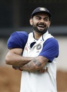 Virat Kohli wears an ice pack on his shoulder after batting in the nets, Bangalore, June 30, 2016