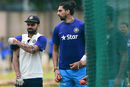 Virat Kohli and Ishant Sharma have a word during a practice session, Bangalore, June 30, 2016