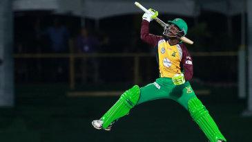 Jason Mohammed exults after hitting the winning runs