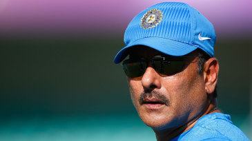 Ravi Shastri looks on during a training session
