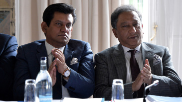 BCB chief executive Nizamuddin Chowdhury and president Nazmul Hassan during an ICC meeting