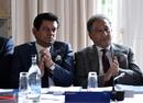 BCB chief executive Nizamuddin Chowdhury and president Nazmul Hassan during an ICC meeting, Edinburgh, June 30, 2016