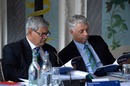 ICC chairman Shashank Manohar and chief executive David Richardson read on during an ICC meeting, Edinburgh, June 30, 2016