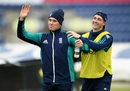 Jason Roy and Chris Woakes share a lighter moment during training, Cardiff, July 1, 2016