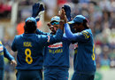 Kusal Perera is congratulated for the catch to remove Jason Roy, England v Sri Lanka, 5th ODI, Cardiff, July 2, 2016