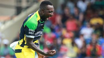 Kesrick Williams celebrates after taking a wicket