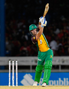 Chris Lynn hits out straight down the ground, Trinbago Knight Riders v Guyana Amazon Warriors, CPL 2016, Port of Spain, July 2, 2016