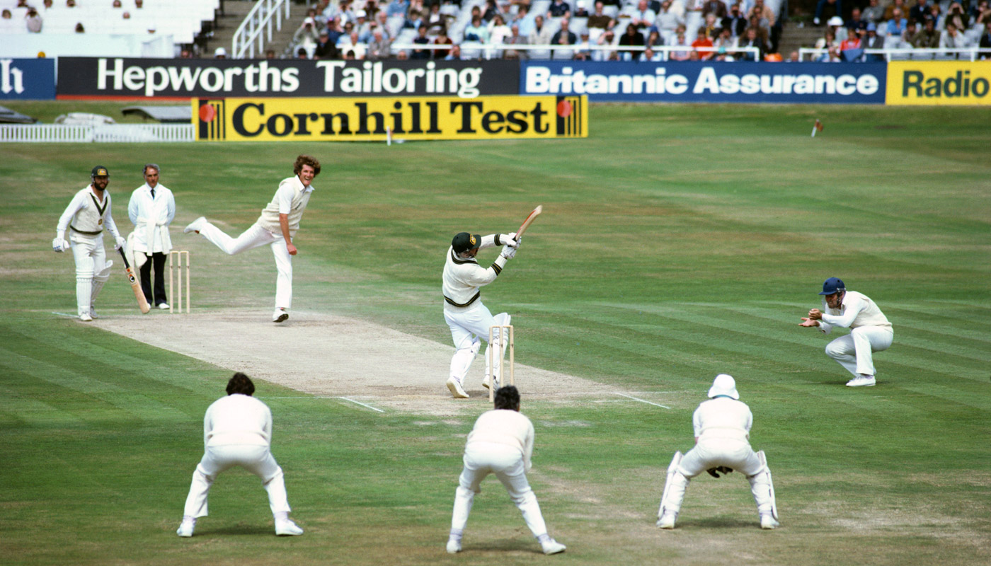 Rod Marsh is dismissed while attempting to hook Willis on the final day at Headingley