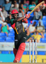 Devon Thomas muscles the ball through the leg side, St Kitts and Nevis Patriots v St Lucia Zouks, CPL 2016, July 3, 2016, Basseterre
