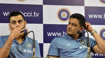Virat Kohli and Anil Kumble address the media on the final day of the Indian team's preparatory camp at the NCA