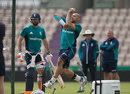 Tymal Mills steams in during a net session, Ageas Bowl, July 4, 2016
