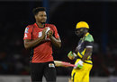 Jason Searles cleans the ball, Trinbago Knight Riders v Jamaica Tallawahs, CPL 2016, Port of Spain, July 4, 2016