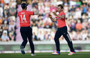 Liam Dawson is congratulated by James Vince for his first international wicket, England v Sri Lanka, only T20I, Southampton, July 5, 2016