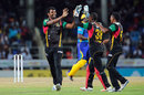 Thisara Perera is all smiles after dismissing Steven Taylor, St Kitts and Nevis Patriots v Barbados Tridents, CPL 2016, Basseterre, July 5, 2016