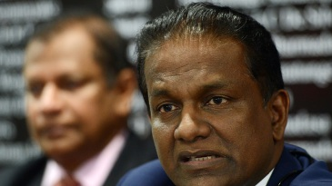 Sri Lanka Cricket president Thilanga Sumathipala addresses the media at a press conference