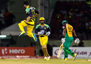 Imad Wasim is pumped up after bowling Dwayne Smith cheaply, Guyana Amazon Warriors v Jamaica Tallawahs, CPL 2016, Providence, July 7, 2016