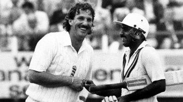 Ian Botham and Javed Miandad share a light moment