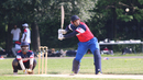 Srini Santhanam winds up to club a full toss, New York ICC Combine, Van Cortlandt Park, Bronx, New York, June 12, 2016