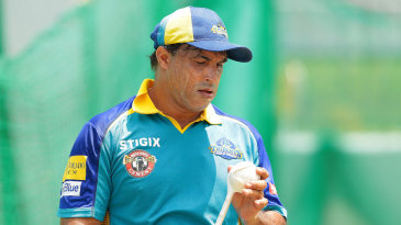 Barbados Tridents coach Robin Singh in the nets