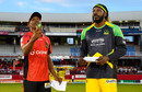 Dwayne Bravo and Chris Gayle at the toss, Barbados Tridents v Jamaica Tallawahs, CPL 2016, Bridgetown, July 11, 2016