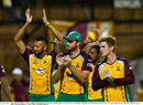 Rayad Emrit (L), Martin Guptill (M) and Adam Zampa (R) acknowledge the cheer of the crowd, Guyana Amazon Warriors v St Lucia Zouks, CPL, Guyana, July 12, 2016