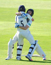 John Simpson and James Harris embrace after victory, Somerset v Middlesex, Specsavers Championship Division One, Taunton, 4th day