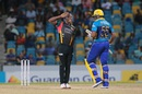 Sheldon Cottrell salutes after dismissing Kieron Pollard, Barbados Tridents v St Kitts and Nevis Patriots, CPL 2016, Barbados, July 13, 2016