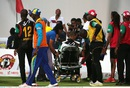 Kieran Powell was stretchered off the field after a nasty collision with JJ Smuts, Barbados Tridents v St Kitts and Nevis Patriots, CPL 2016, Barbados, July 13, 2016