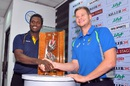 Angelo Mathews and Steven Smith pose with the Warne-Muralitharan trophy, Colombo, July 13, 2016
