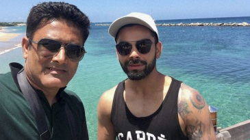 Anil Kumble and Virat Kohli at a team bonding session in St Kitts and Nevis